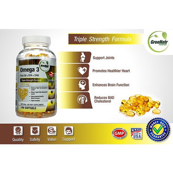 Omega 3 Fish Oil Pills *Pay for 60 Softgels and get 100 * Triple Strength Formula (Fish Oil Supplement + DHA + EPA)