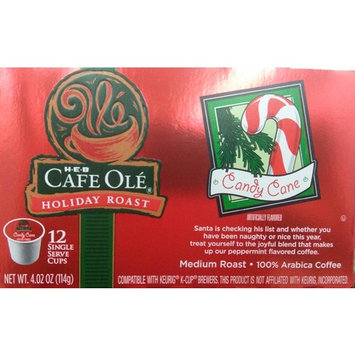 HEB Cafe Ole' Holiday Roast Single Serve Coffee Cups 12 Per Box - Medium Roast (Pack of 4 Boxes - 48 Cups) Select Flavor Below (Candy Cane - Peppermint Flavored)