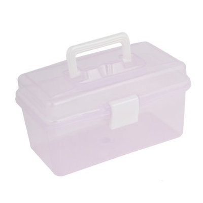 Clear Purple Medicine Box Shape 2 Layers 16 Components Storage Case