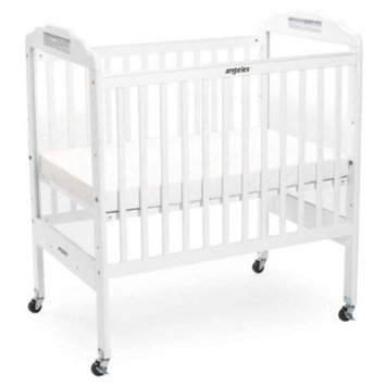 Angeles Adjustable Fixed Side Crib, White (Discontinued by Manufacturer)
