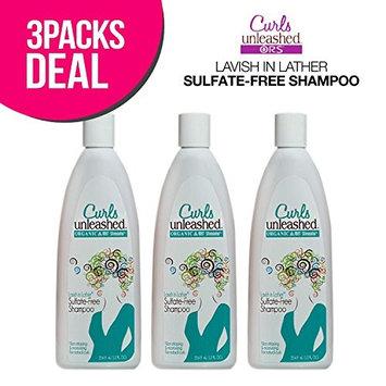 (3 PACK) ORGANIC ROOT Stimulator Curls Unleashed Lavish in Lather Sulfate-Free Shampoo 12oz : Beauty