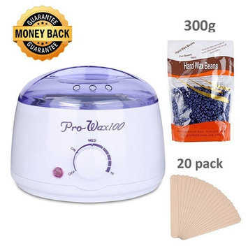 Waxing Kit Temperature Control Wax Warmer Hair Removal Electric Hot heater, Rapid Melting Pot with 10.5 oz Flavor Hard Wax Beans and 20 Pack Wax Applicator