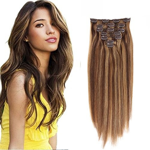 TD Hair Silk Straight Clip in Human Hair Extensions Remy Human Hair Weft Clip in Hair Extensions Full Head 7Pcs 15Inch 70g (Piano Color #4/27 Medium Brown/Dark Blonde)