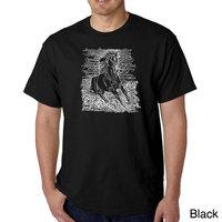 Los Angeles Pop Art Men's Big & Tall Word Art T-shirt - Popular Horse Breeds [Fit : Men's Big & Tall]