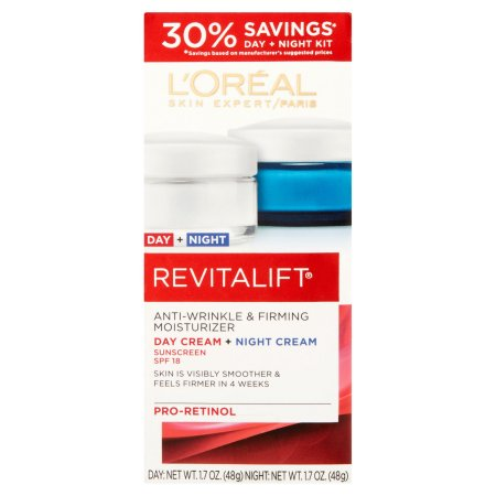 L'Oreal Paris Revitalift Anti-Wrinkle & Firming Moisturizer Day + Night Cream Sunscreen Set, SPF 18