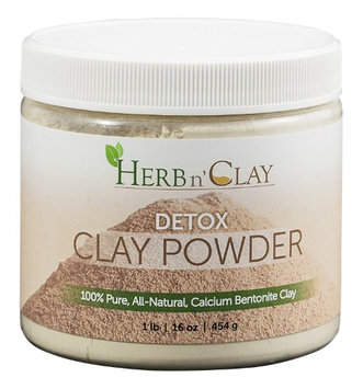 Herb 'n Clay Herb n' Clay 100% Pure Calcium Bentonite Detox Clay Powder For Detoxification, Colon Cleanse, Body Balance & Energy, 1 LB