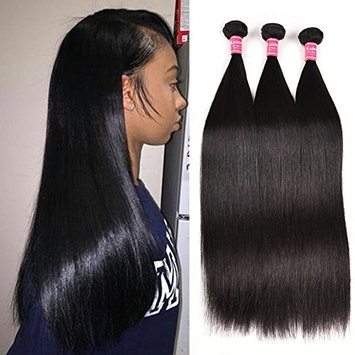 Kadoyee 8A Malaysian Straight Human Hair 3 Bundles Unprocessed Malaysian Virgin Human Hair Weave Extensions Long Straight Hair Bundles 22 24 26inches Can Be Dyed and Bleached Natural Black Color