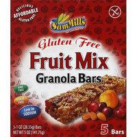 Sam Mills Gluten Free Fruit Mix Granola Bars, 1 oz, 5 count, (Pack of 6)