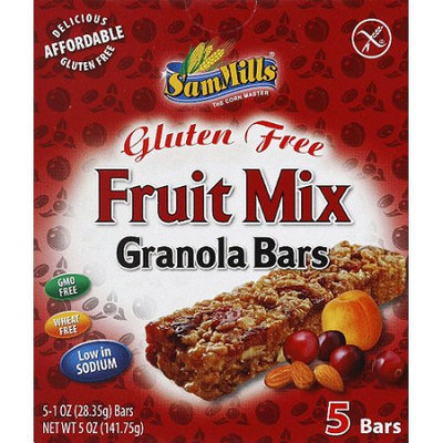 Sam Mills Gluten Free Fruit Mix Granola Bars, 1 oz, 5 count, (Pack of 6)