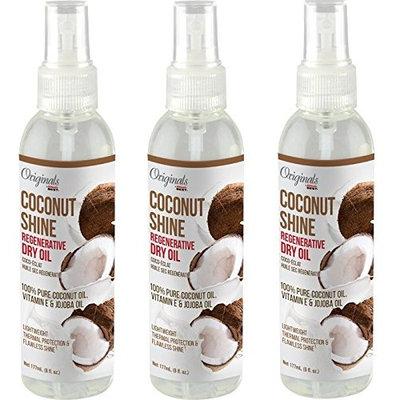 [ TRENDING PACK OF 3] AFRICA'S BEST COCONUT SHINE REGENERATIVE DRY OIL 100% PURE COCONUT OIL, VITAMIN E, JOJOBA OIL 6 OUNCE EA : Beauty