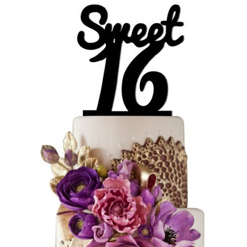 Sugar Yeti Sweet 16 Unique Birthday Cake Topper Solid Black Monogram calligraphy Made From Food Grade Acrylic Designed and Manufactured in California USA Free Shipping