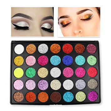 35 Colors EyeShadow Powder,YOYORI Charming Loose Sparkly Pearlescent Sparkly Professional Vegan Nudes Warm Natural Bronze cSmoky Eye Shadows Palette