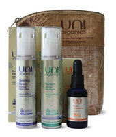 Certified Organic Anti-Aging Moisturizer Night Cream with Collagen Boosting Face Serum and Rosehip Face Oil Powerful Skin Restore Set by UniOrganics