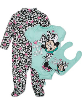 Fisher-price Disney Baby Minnie Mouse 3 Piece Layette Set, Mint, 3-6 Months