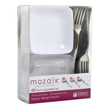 Mozaik 48-Piece Disposable Mini Appetizer Set with Bowls and Flatware