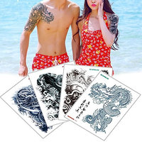 4 Sheets Big Large Shoulder Chest Body Tattoo Sticker Temporary Dragon Decal