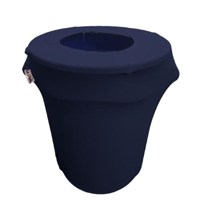 LA Linen SpandexCover32G-NavyX72 Stretch Spandex Trash Can Cover 32 gal Round Navy