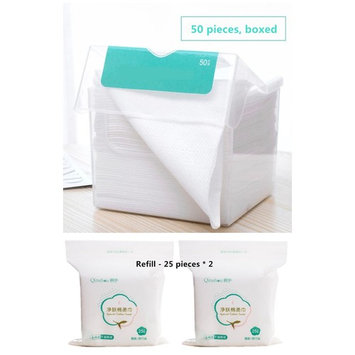 XICHEN 1 box of 50 pcs Disposable Towel for Washing Face Cotton Pads Cosmetic Cotton Add 50 replacement refill Can be wet and dry