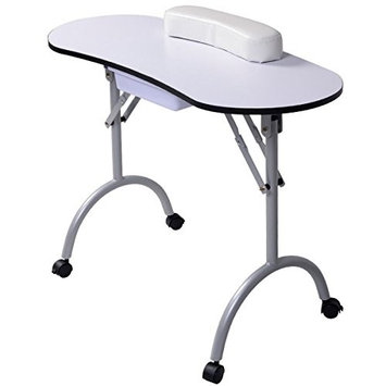 lunanice New Portable Manicure Nail Table Station Desk Spa Beauty Salon Equipment White