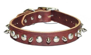 Leather Brothers Inc. 6079-BK12 Black Signature Leather Spike and Stud Dog Colla