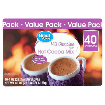 Great Value Milk Chocolate Hot Cocoa Mix Envelopes, 40 Count