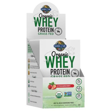 Garden of Life Organic Whey Protein Grass Fed Packets, Strawberry, 10 Ct
