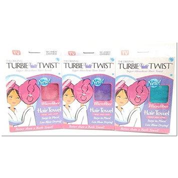 Turbie Twist Microfiber Super Absorbent Hair Towel Pink-Purple-Aqua by Turbie Twist