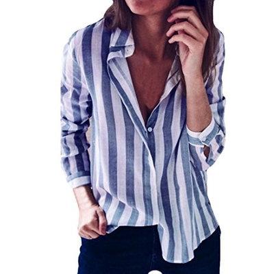 EnjoCho Women Casual Button Front V Neck Strips Long Sleeve Blouse Tops S-XL