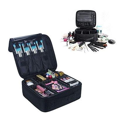 Makeup Bag Portable Travel Cosmetic Case,Colleer Make Up Brushes Organizer Bag with Zipper Waterproof Large Makeup Train Case for Women &Men (Black)