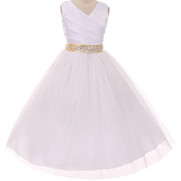 Little Girls Custom Rhinestone Belt Communion Wedding Flowers Girls Dresses White Champagne 6 (MB27K6CB)