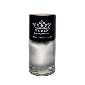PUEEN Rocking Metallic Nail Polish For Nail Stamping Big 5-FREE Formula Nail Color Lacquer (601 Silver Dust)-BH000524