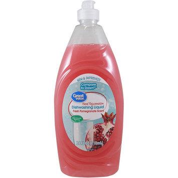 Great Value Hand Rejuvenation Dishwashing Liquid, Fresh Pomegranate Scent, 24 oz
