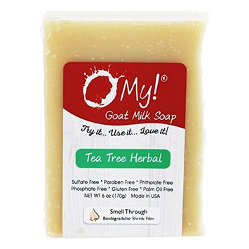 O My! Goat Milk Soap 6oz Bar - Tea Tree Herbal | Made with Farm-Fresh Goat Milk | Moisturizes dry skin | Gently Exfoliates | Paraben Free | Leaping Bunny Certified | Made in USA [Tea Tree Herbal]