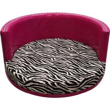 Harmony Kids Spoiled Rotten Classic Medium Pet Bed Hot Pink Vinyl Zebra Chocolate
