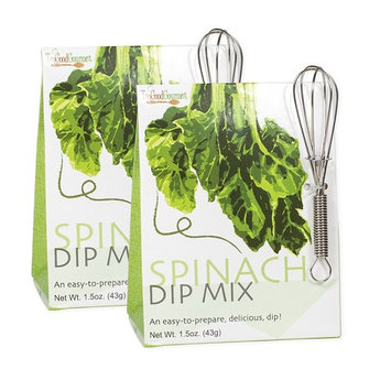 Spinach Bacon 1.5 Ounce Vegetable Dip Mix with Mini Whisk 2 Pack [Spinach Bacon Dip]
