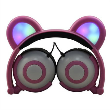 Edm Imports Inc Jamsonic Multicolored LED Light Up Foldable Panda Ear Headphones use for Phones, PC, MP3, MP4, Kids, Childrens, Boys, Girls