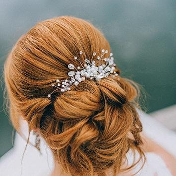 Kercisbeauty Wedding Bridal Bridesmaids Flower Girl Crystal Rhinestone Pearl Beads Combs Headband Bridal Hair Comb Headpiece Long Curly Bun Hair Accessories,Wedding Vintage Hair Comb
