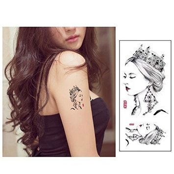 Auch 2 Sheets of Waterproof Queen Temporary Tattoos, Temporary Tattoos Stickers for Women & Girls, Sexy Body Tattoo Sticker