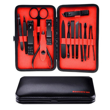 Winkeyes Manicure Pedicure Set, Manicure Tools Nail Clippers Kit, Cuticle Nipper Nail Cutter Care Set Scissor Eyebrow Tweezer Ear Pick Grooming Kit with Travel Case for Men Women