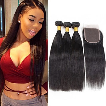 Brazilian Straight Bundles with Closure 3 Bundles with Closure 10A 100% Unprocessed Virgin Human Hair Bundles of Brazilian Hair with 4X4 Lace Closure Free Part