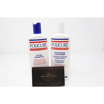 Folicure Extra Shampoo and Conditioner 12 Ounce Bundle (includes free wooden comb)