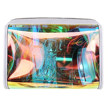 Naimo Shiny Holographic Transparency Cosmetic Makeup Bag Multifunctional Clutch Bag Evening Purse Waterproof PVC Toiletry Beach Wash Bag