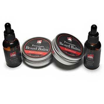 GBS Ultimate Beard Taming Variety Set- 2 Beard Oils (Sandalwood&Unscented) & 2 Beard Balms (Sandalwood & Sweet Orange)