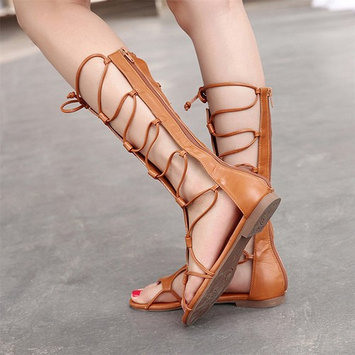 Women Summer PU & rubber Knee High Gladiator Cut Out Strappy Flat Sandal Shoes