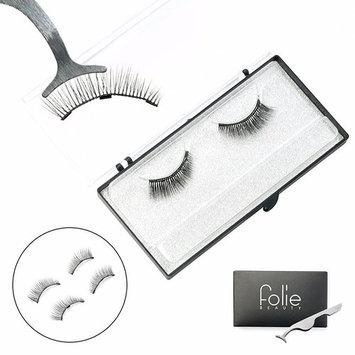 Folie Beauty Triple Magnetic Faux Mink 3D Fiber Reusable False Eyelashes with Lash Tweezer