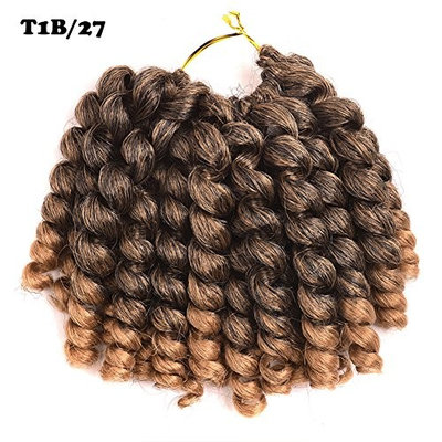 2 pack 8 inch 75 gram Bounce Curl Crochet Braids hair Black Jumpy Wand Curl Collection Braiding Hair Synthetic Extension for Black Women (8