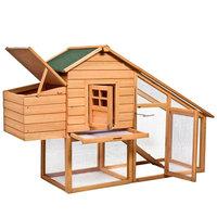 GHP Portable Galvanized Wire Roof Rainproof Fir Wood Chicken Coop Cage Rabbit Hutch