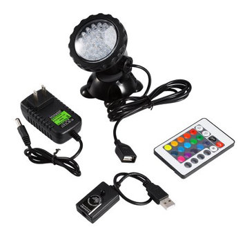Underwater Submersible LED Light, Estink Waterproof Diving Remote Control 36 LEDs Color Changing Spot Light for Fountain Fish Tank Swimming Pool Garden(RGB 7 Colors Changing)
