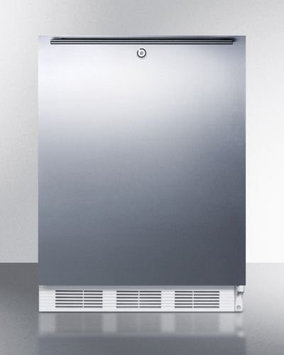 SUMMIT Commercially approved, ADA compliant all-refrigerator for freestanding use, with stainless steel door, horizontal handle, and lock