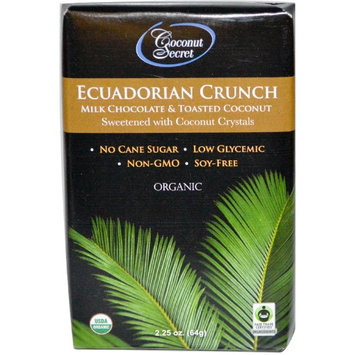 Coconut Secret, Ecuadorian Crunch, Milk Chocolate & Toasted Coconut, 2.25 oz (pack of 6)